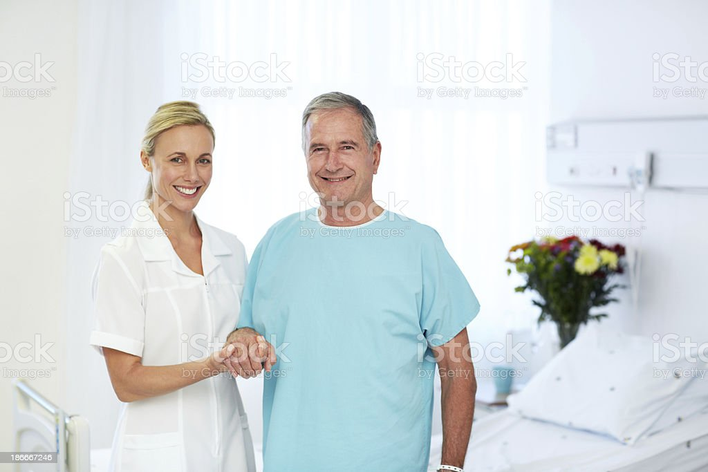 Her support helps him get well royalty-free stock photo