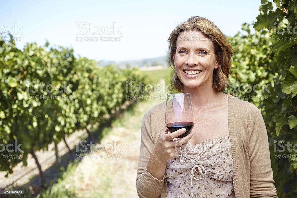 Her vineyard produces great wine! royalty-free stock photo