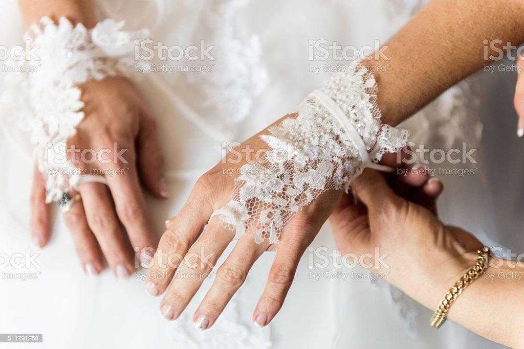 Her wedding preparation stock photo
