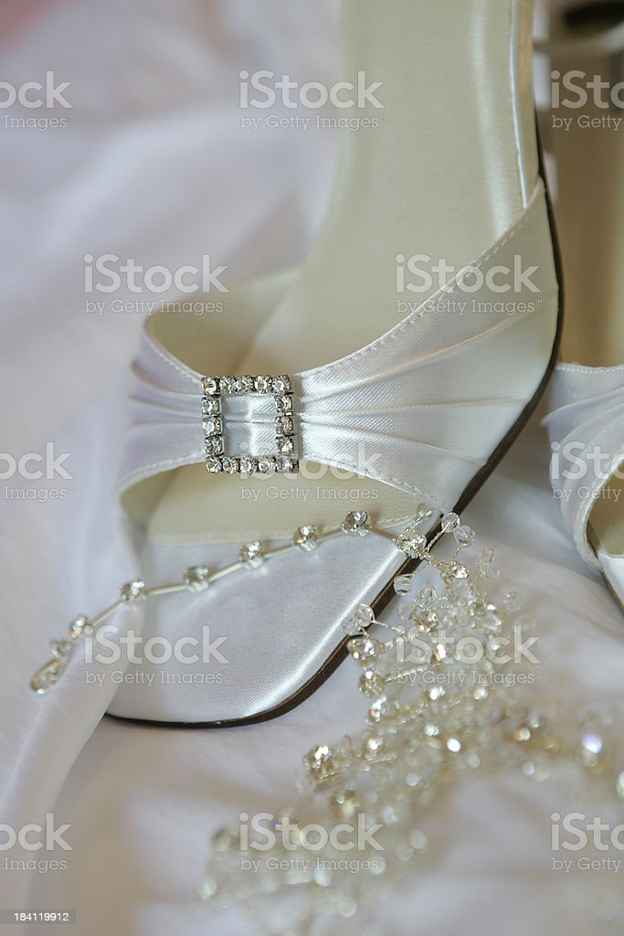 Her wedding shoe royalty-free stock photo