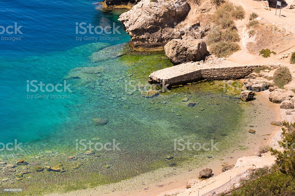 Heraion lake in Perachora in Greece aerial view. stock photo