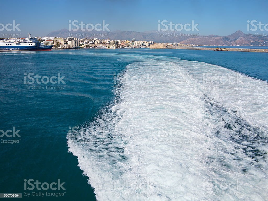 18.06.2015; Heraklion, Greece - View to seaport and water trace stock photo