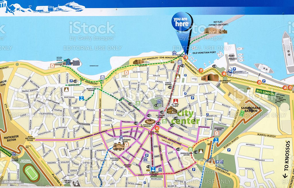 Heraklion Map. stock photo