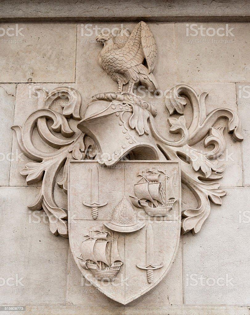 Heraldic shield stone stock photo