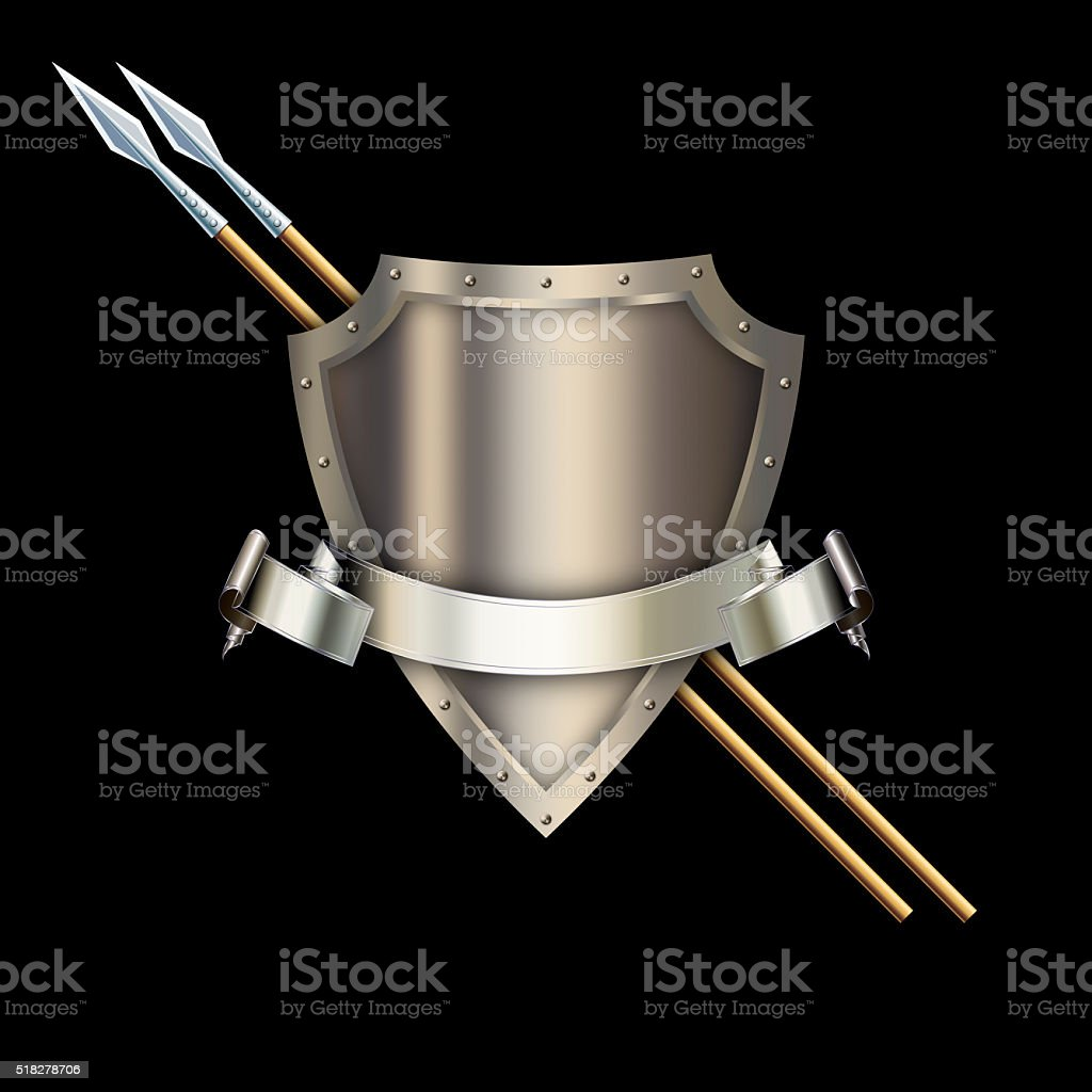 Heraldic shield with silver ribbon and spears. stock photo