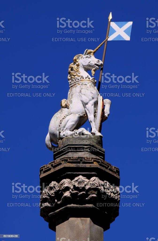 Royal Mile, Edinburgh, Scotland - June 23, 2009: Heraldic Unicorn and Saltire stock photo