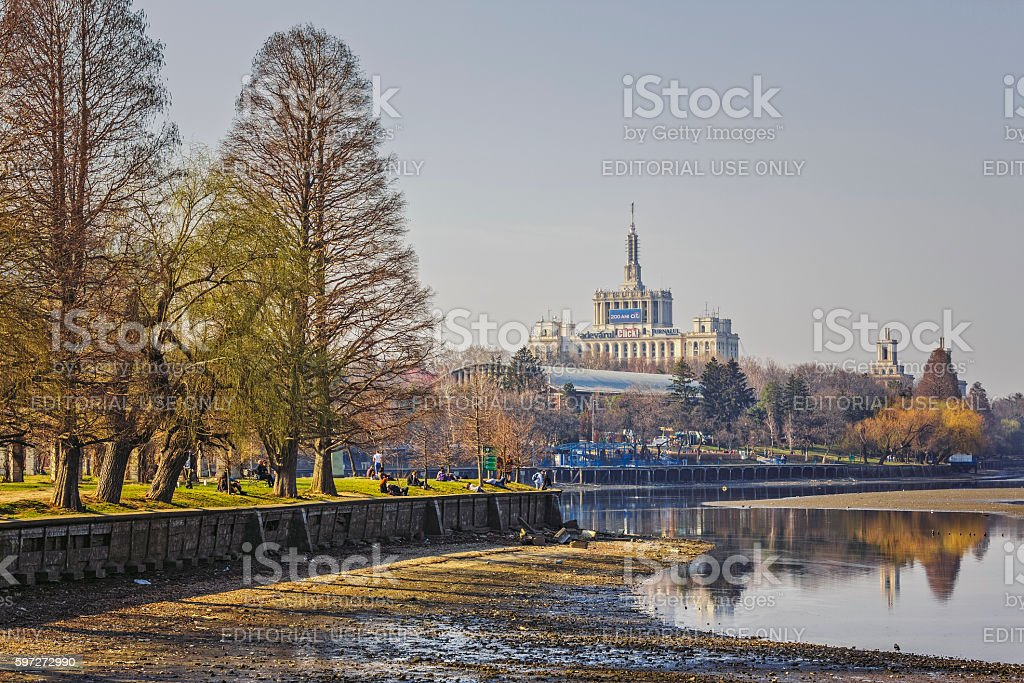 Herastrau park and Free Press House stock photo