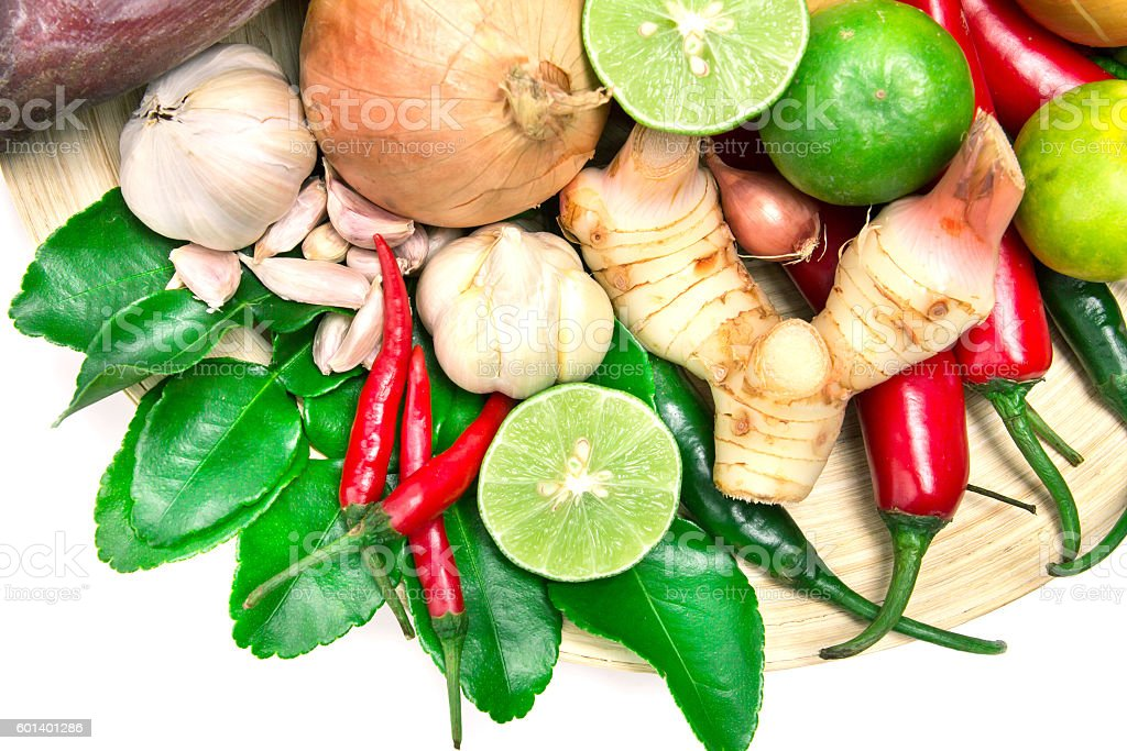herb and spice ingredients for asian food on white background stock photo