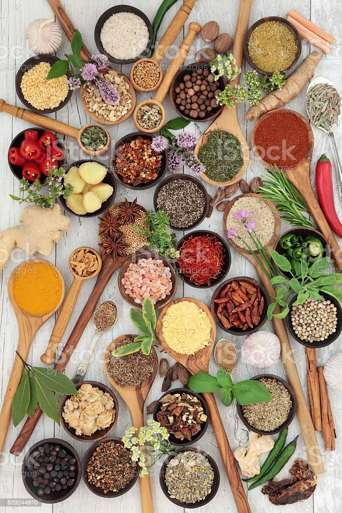 Herb and Spice Sampler stock photo