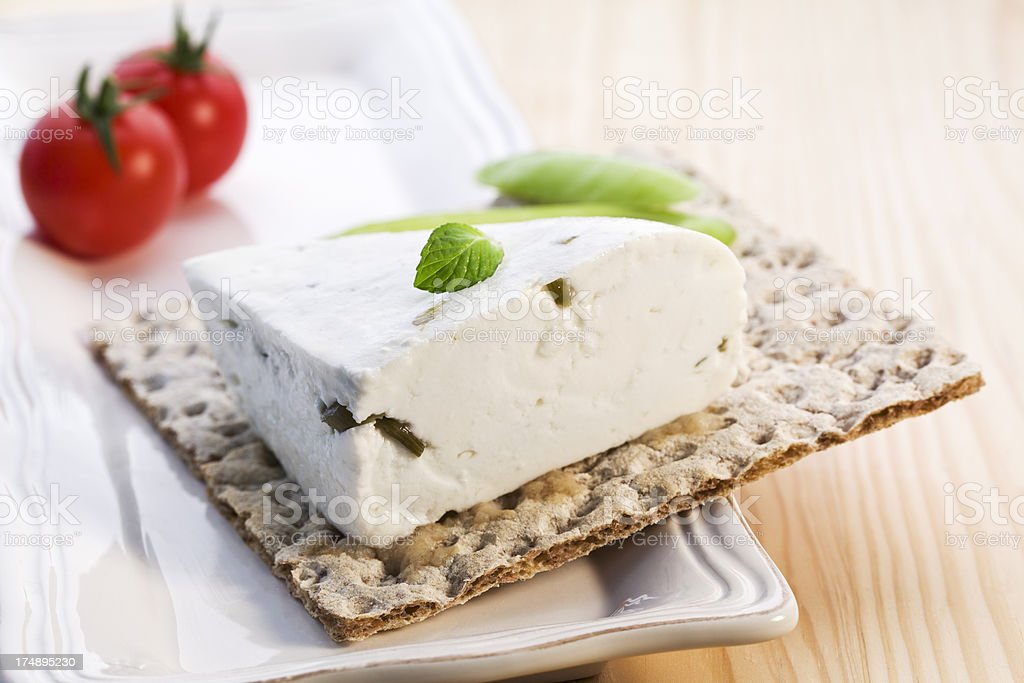 herb cheese on crisp bread royalty-free stock photo