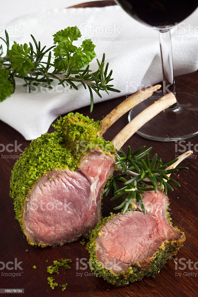 Herb Crusted Lamb royalty-free stock photo