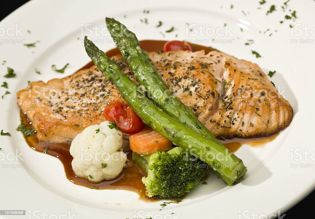 Herb Crusted Salmon stock photo