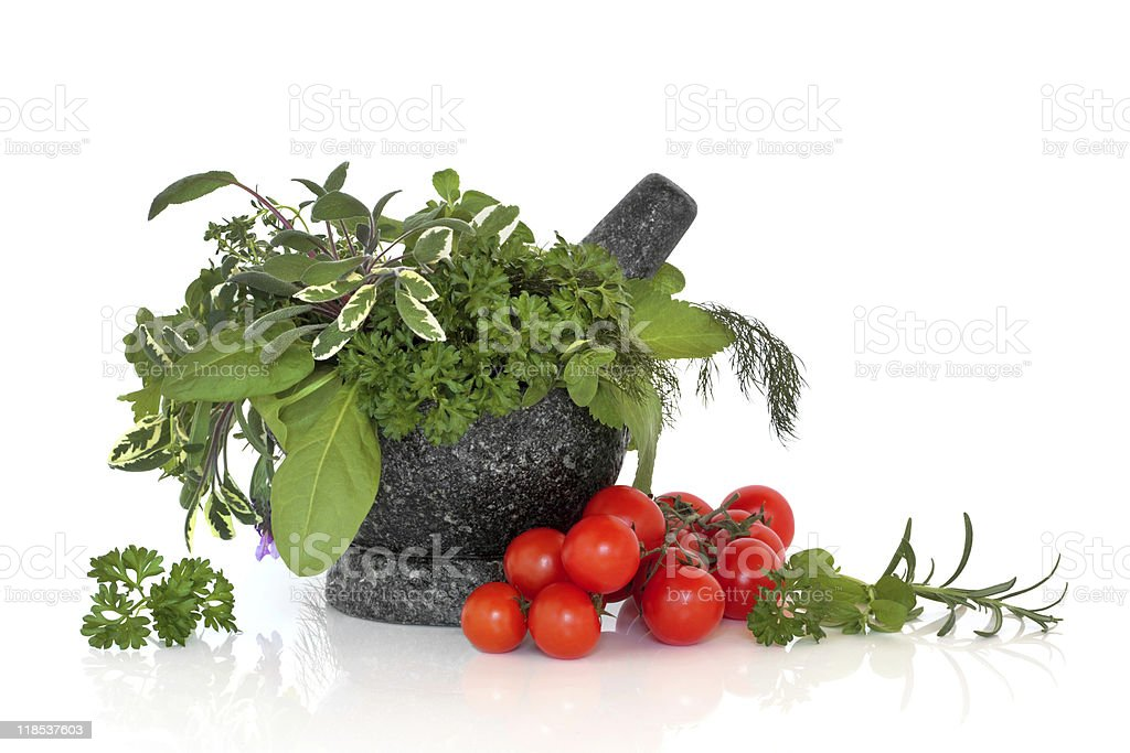 Herb Leaf Selection and Tomatoes royalty-free stock photo