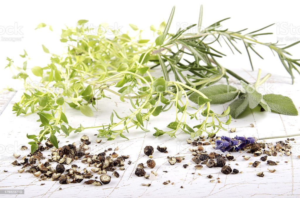 herb mixture on bright background royalty-free stock photo