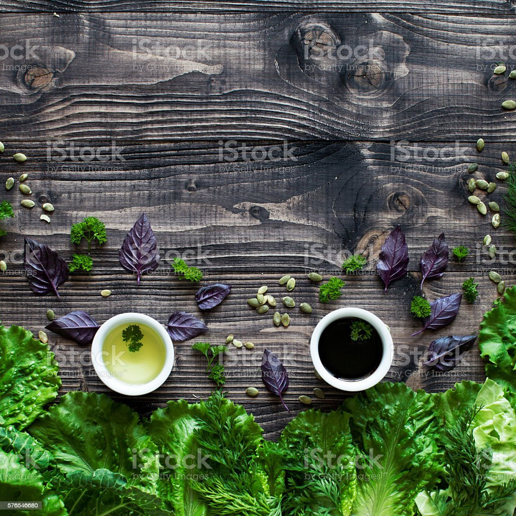 Herb on wood table stock photo