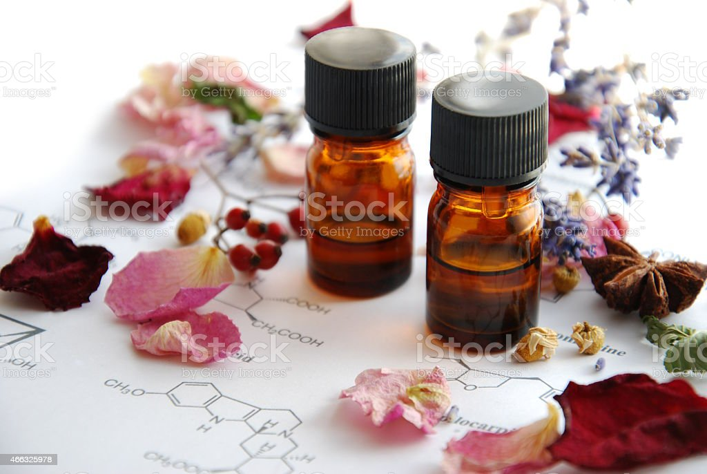 herbal apothecary with roses stock photo