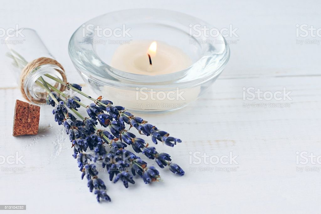 Herbal aromatherapy. Lavender at home. stock photo