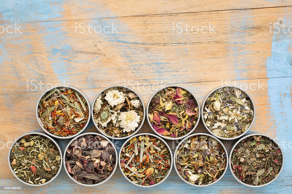 herbal blend tea collection stock photo