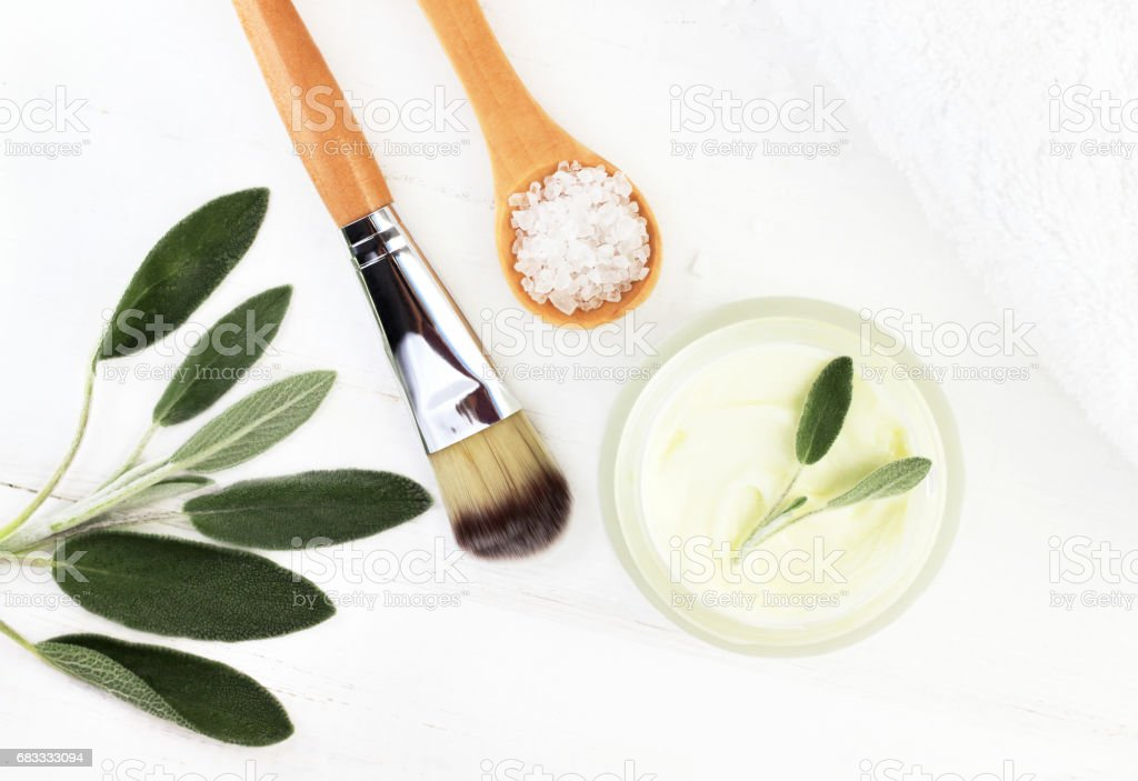 Herbal botanical facial mask with salvia. Ingredients for home spa top view stock photo