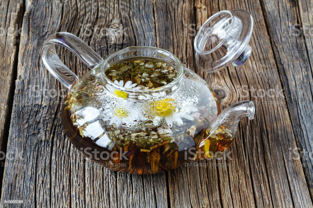 Herbal chamomile tea stock photo