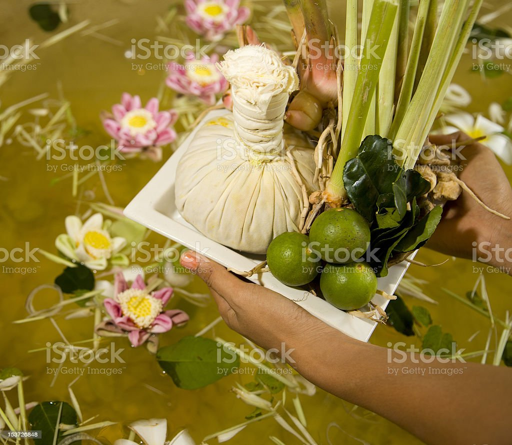 herbal compress at spa in Cambodia stock photo