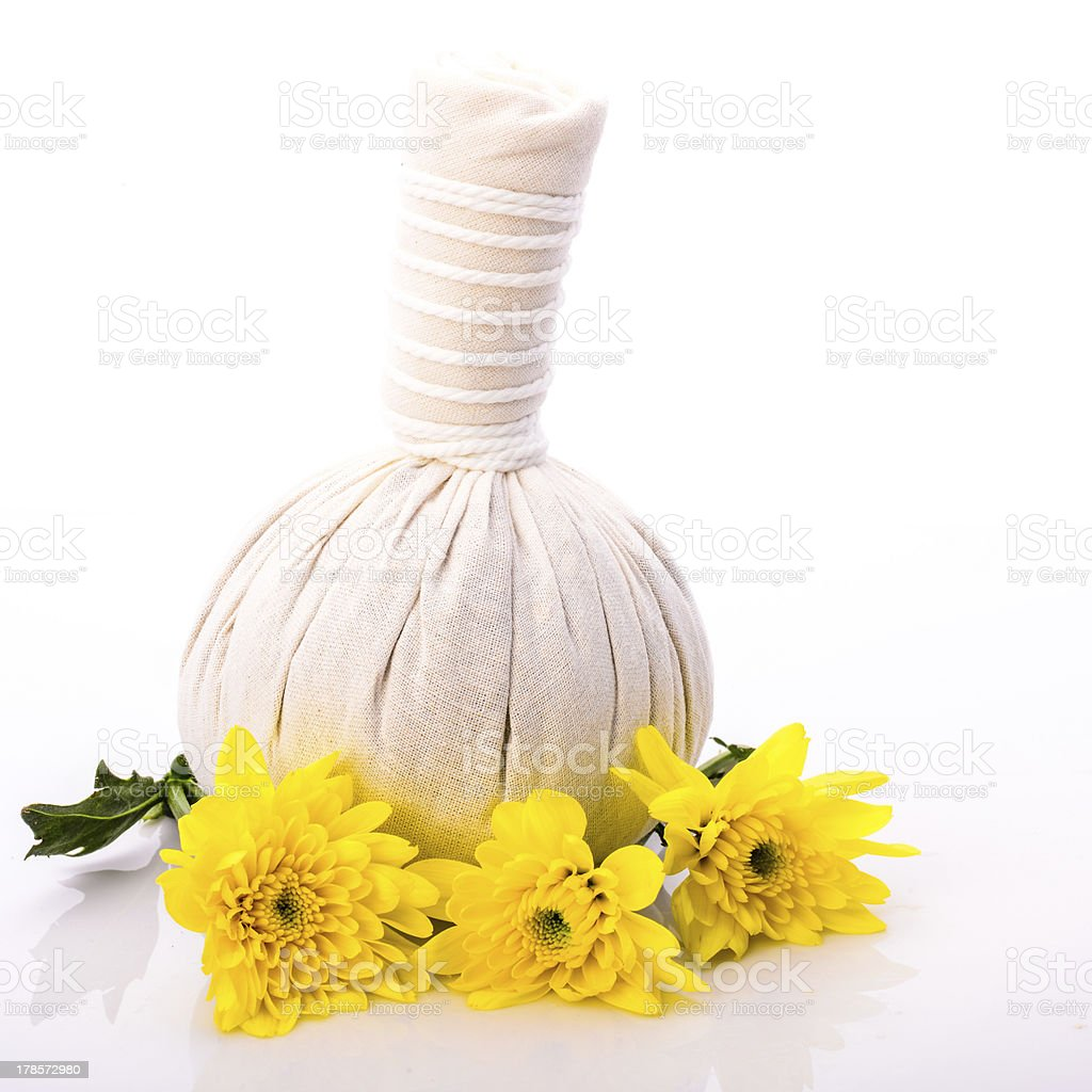 Herbal compress ball for spa treatment royalty-free stock photo