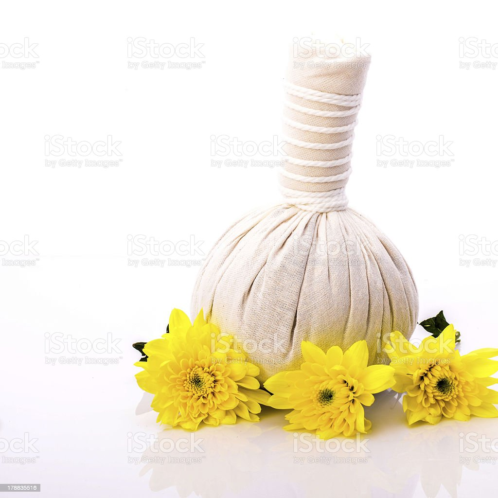 Herbal compress ball for spa treatment stock photo