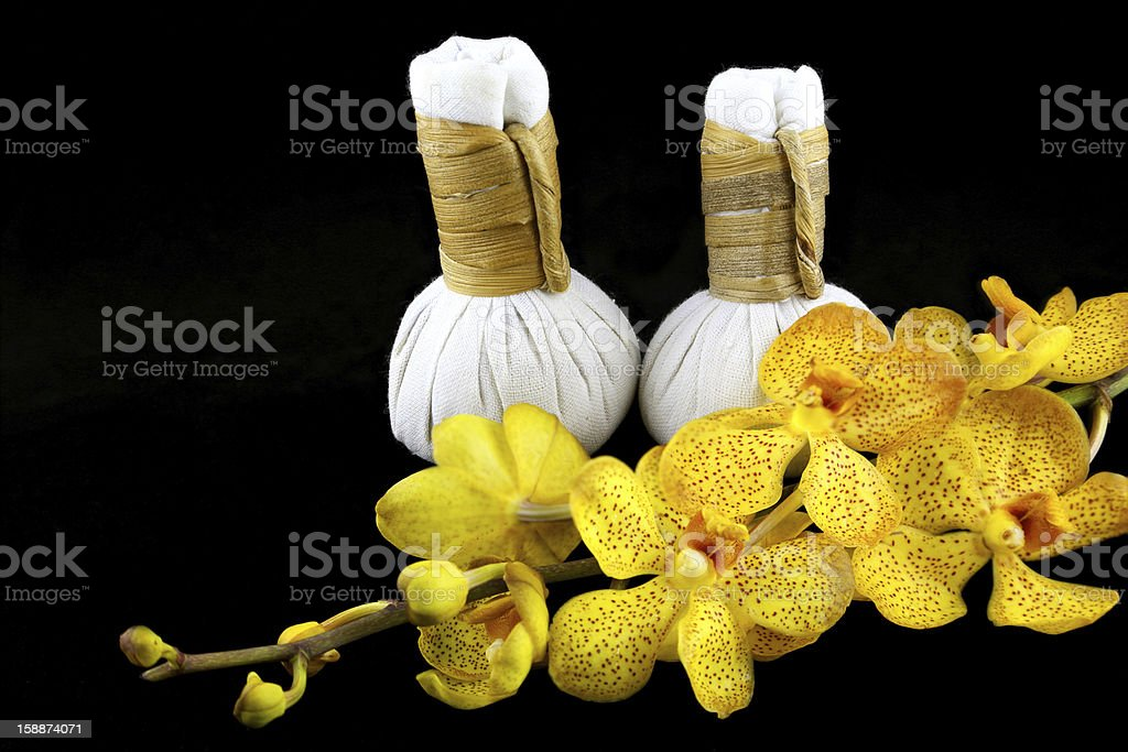 herbal compress balls stock photo