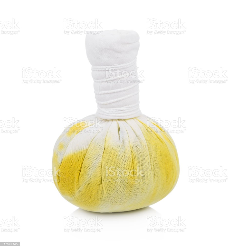 Herbal compress spa on white background stock photo
