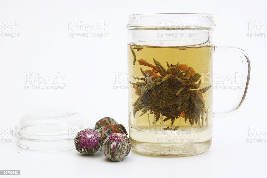 Herbal drink with tea flower in glass cup stock photo