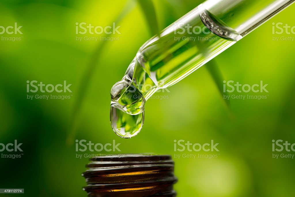 Herbal essence dropper into bottle stock photo