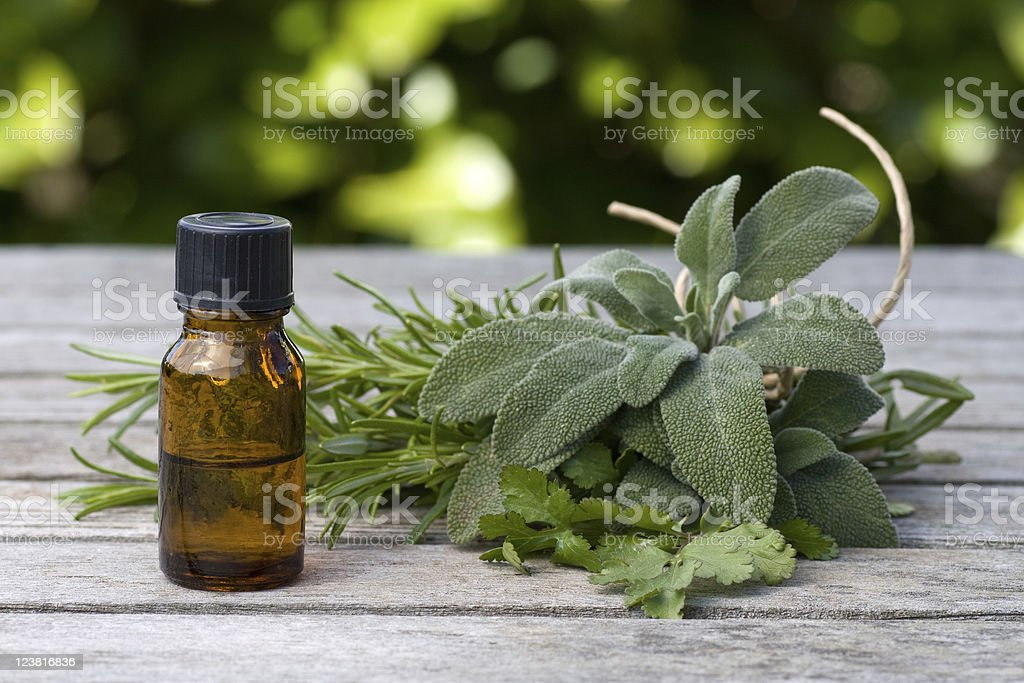 Herbal essence with sage and rosemary stock photo