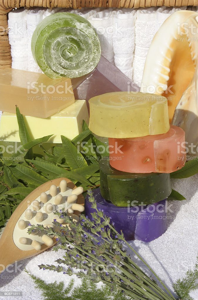 Herbal Hand Made Soap two stock photo