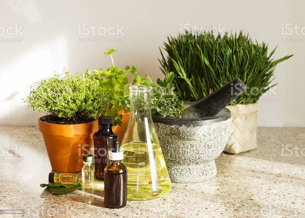 Herbal Medicine Concept with Plants,Beaker and Medicine Bottles royalty-free stock photo