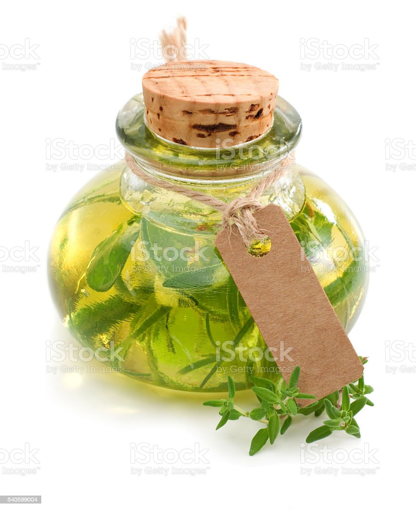 Herbal oil with cardboard and copyspace stock photo