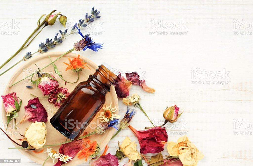 Herbal pharmacy.Botanical cosmetic ingredients, aromatherapy background. stock photo
