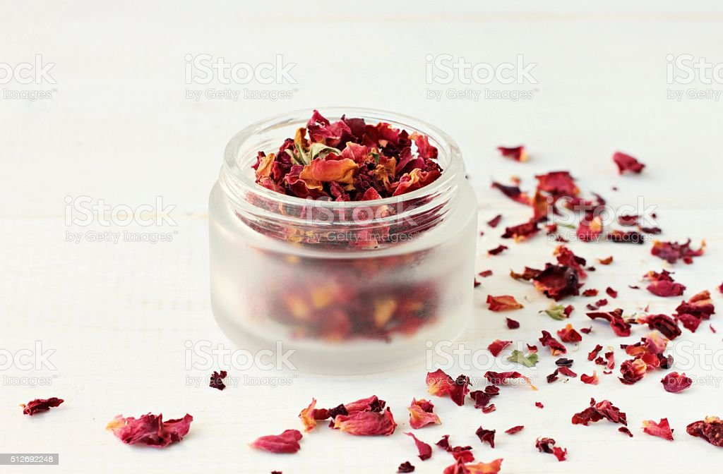 Herbal rose petals therapy. stock photo