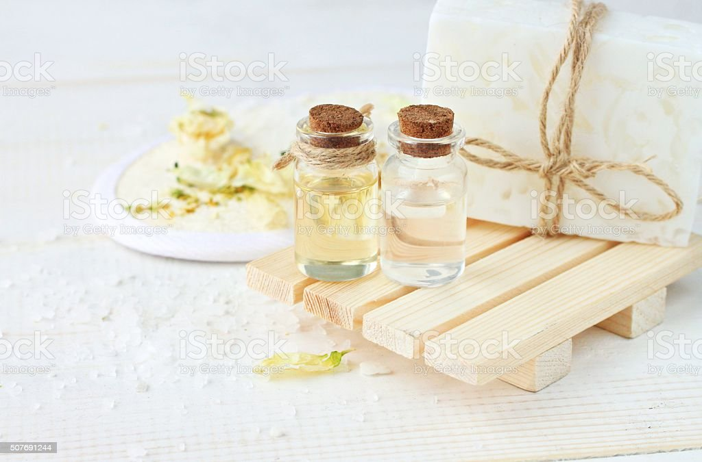 Herbal spa cosmetic products. stock photo