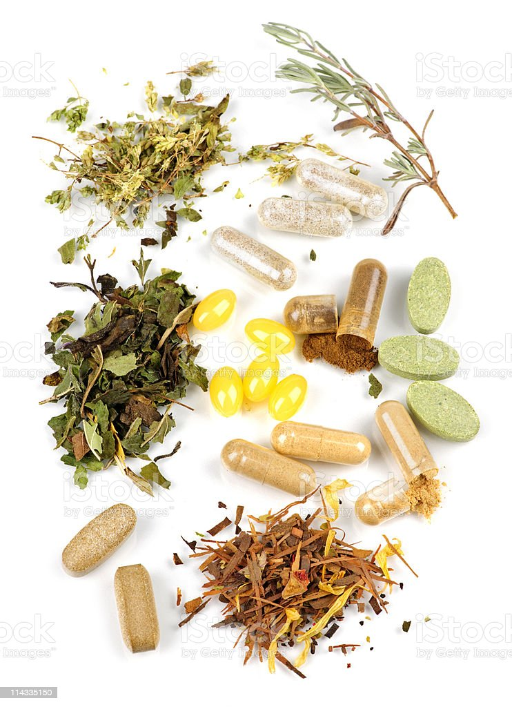Herbal supplement pills stock photo