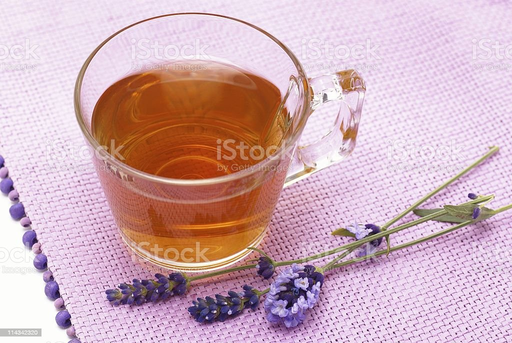 Herbal tea and lavender stock photo