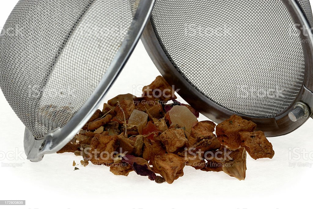 Herbal Tea and Mesh Infuser royalty-free stock photo