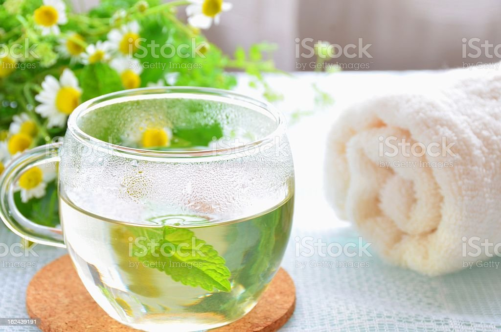 herbal tea at beauty treatment salon royalty-free stock photo