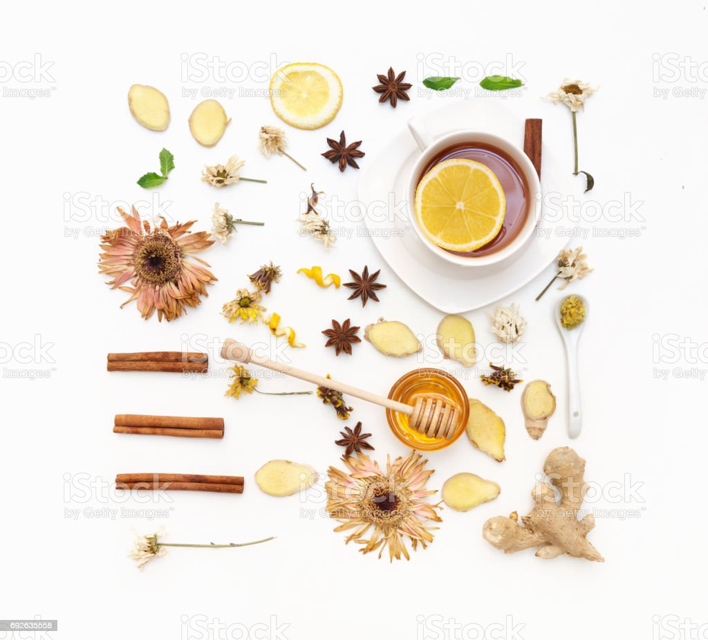 Herbal tea cooking set. Fresh mint, honeycombs, lemon, ginger on white background. Flat lay, top view, copy space stock photo