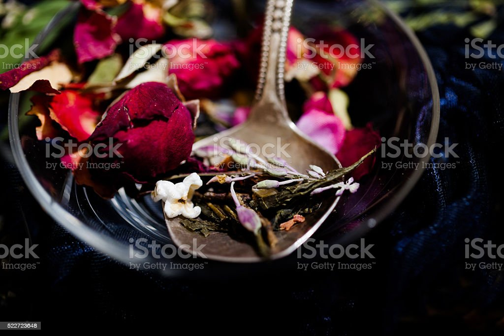 Herbal tea, herbs and flowers stock photo