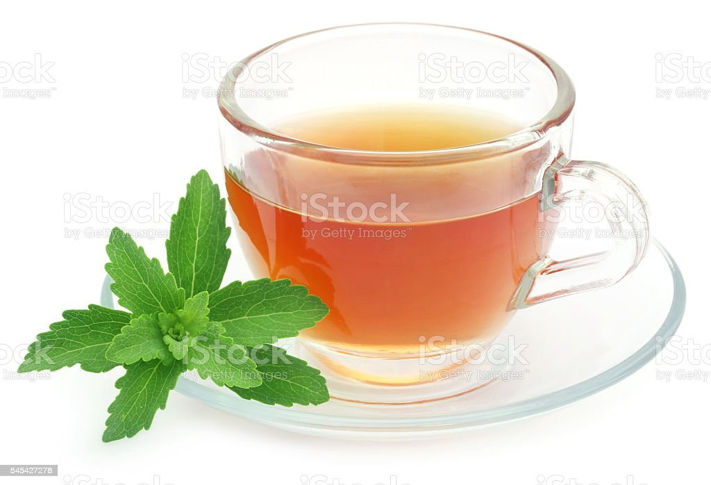 Herbal tea in a cup with stevia leaves stock photo