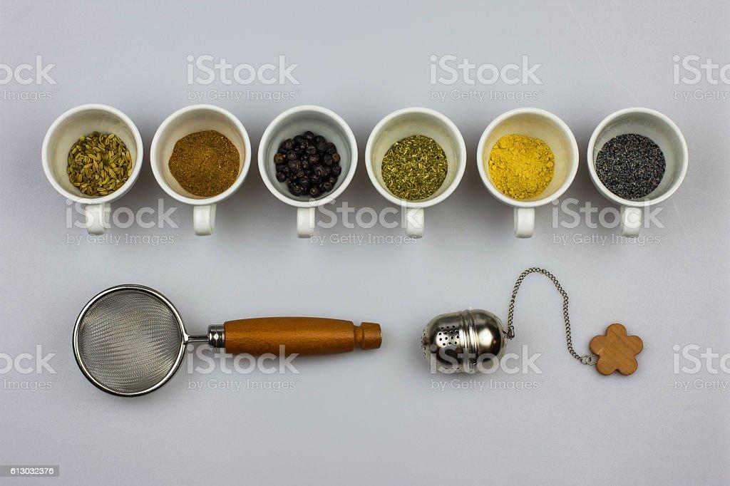 Herbal tea ingredients stock photo