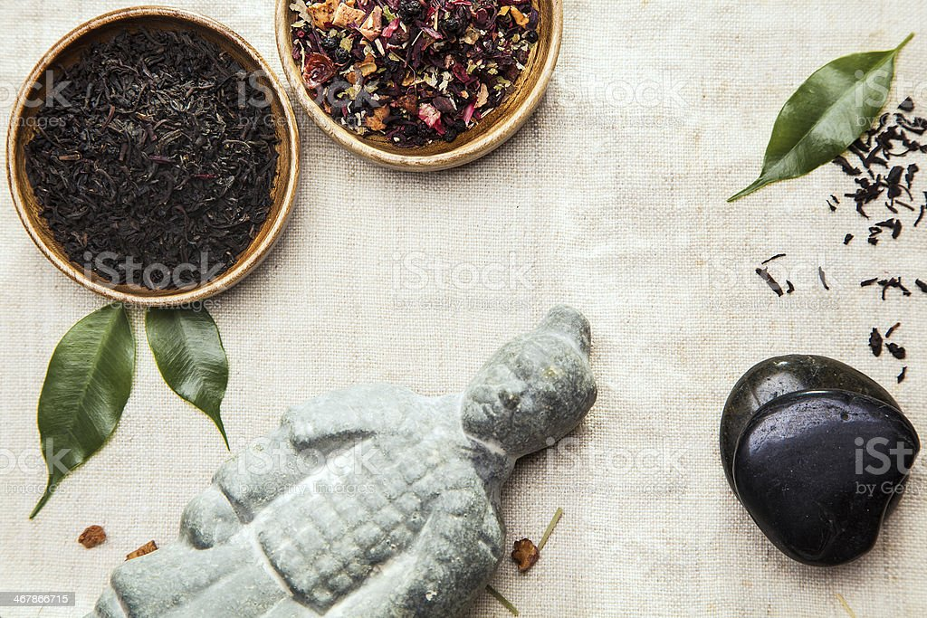 Herbal tea leaves for alternative therapy royalty-free stock photo