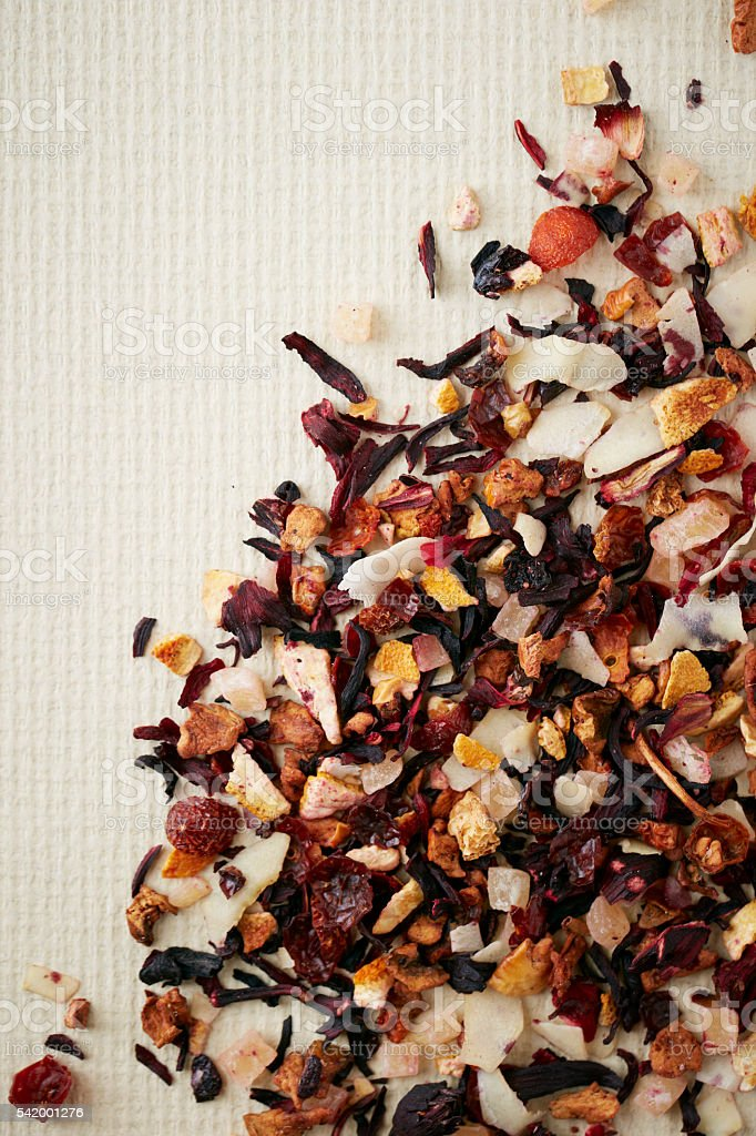Herbal tea leaves stock photo