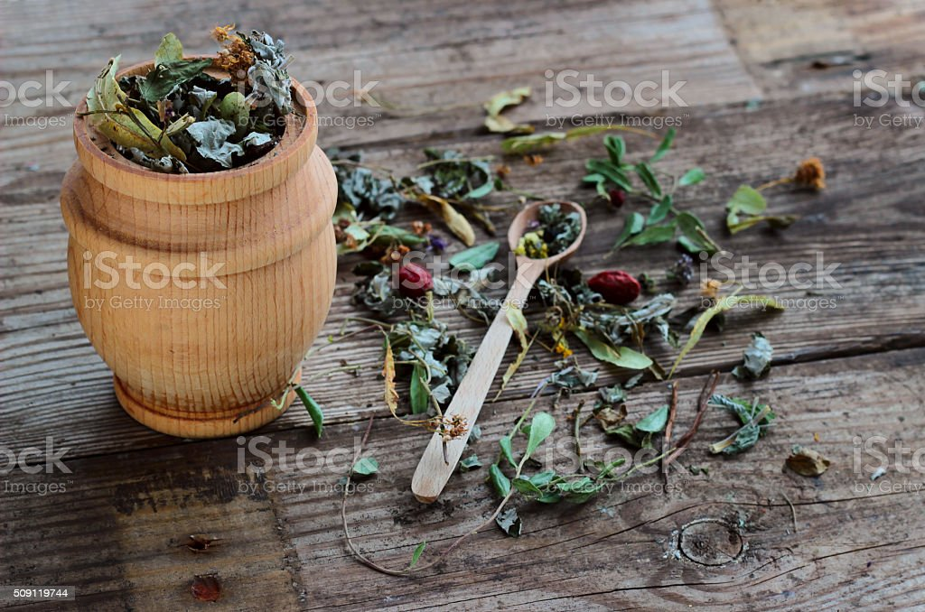 Herbal tea made from various medicinal plants, selective focus stock photo