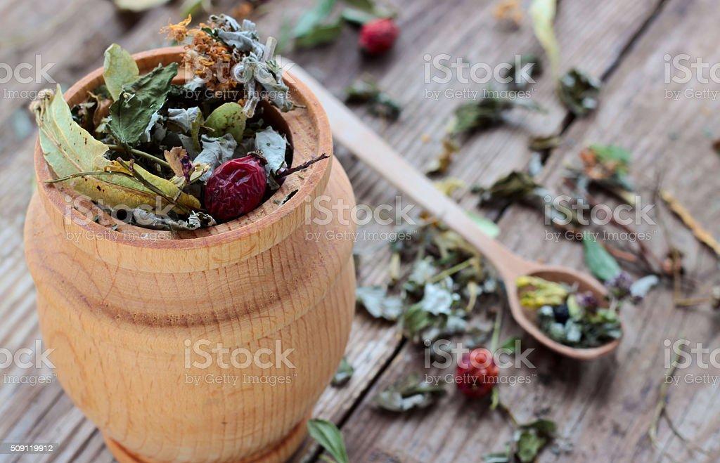 Herbal tea made from various medicinal plants, selective focus stock photo